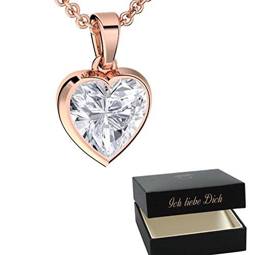 Herzkette Rosegold Kette Damen-Kette Rosegold Herz  Geschenke für Freundin Liebe Geburtstag Schmuck Herz-Anhänger Zirkonia Stein Silber 925 vergoldet Halsketten für Frauen...