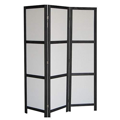 NEG Paravent Rigel (schwarz) Raumteiler/Sichtschutz aus Echt-Holz und Baumwolle (spanische Wand)