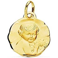 Médaille douce enfant de la fleur or 18carats 18mm Médaille naissance/baptême