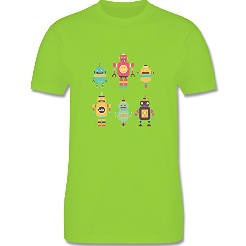 Nerds & Geeks - Bunte Roboter - Herren Premium T-Shirt Hellgrün