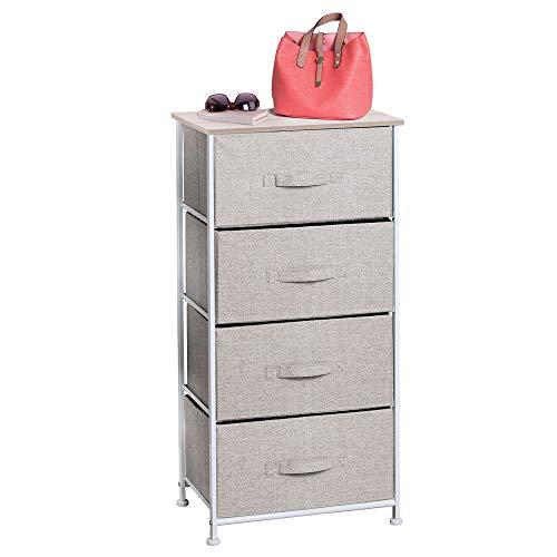 mDesign Cómoda de tela para organizar armarios con 4 cajones - Mueble organizador para dormitorio, vestidor, oficina y más - Cajoneras para armarios livianas en tela con estética de yute - beige
