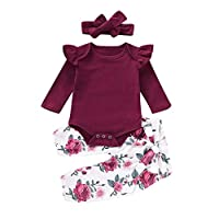 Girls Clothing Sets, SHOBDW 1Set Toddler Infant Baby Fashion Lovely Floral Prints Long Shorts Sleeve Tops + Pants + Headband Outfits Gifts (6-12 Months, Romper Set-Floral)