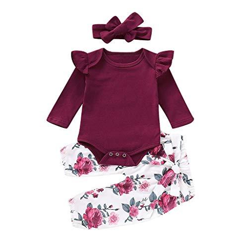 BeautyTop Baby Baby Mädchen Kleidung Set 3 Stück Baby Toddler Kinder Langarm Solid Spielanzug + Blumendruck Hosen + Haarband 3Pcs Kleinkind Neugeborenes Kinderkleidung
