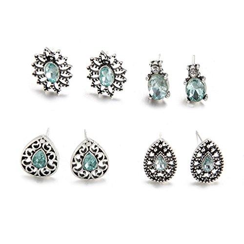 L_shop 4 Paar Juwel blendende Saphirglas Boho Ohrstecker Einfache Nette Blumen Wassertropfen Hohl Farbige Diamant (Sehr Einfache Kostüm Ideen)