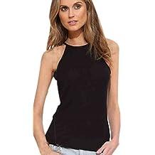 Cuello Halter Camisetas Tirantes Mujer Top Sin Mangas Verano Tank Tops Ajustado Camisas Señora Casual Camisa