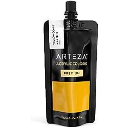 ARTEZA Pintura acrílica | Color Amarillo Ocre | Bolsa individual de 120 mililitros | Pinturas acrílicas para lienzos