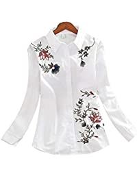 RBDSE Camisa Camisas de Manga Larga para Mujer Moda de Gran tamaño Flores Sueltas Ocasionales Bordadas