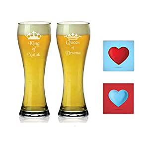 Couple Gifts, Natak King Drama Queen Beer Glasses Mugs Set of 4 with Coasters by Giftsmate
