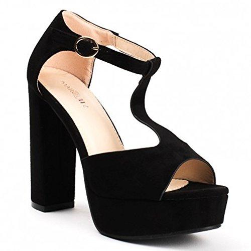 707af6e6d4bb4d Damen Riemchen Abend Sommer Sandaletten High Heels Pumps Velours Peep Toes  Party T-Riemen Schuhe