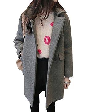 Chaqueta De Abrigo De Invierno De Color Sólido Collar-de-traje Para Mujer