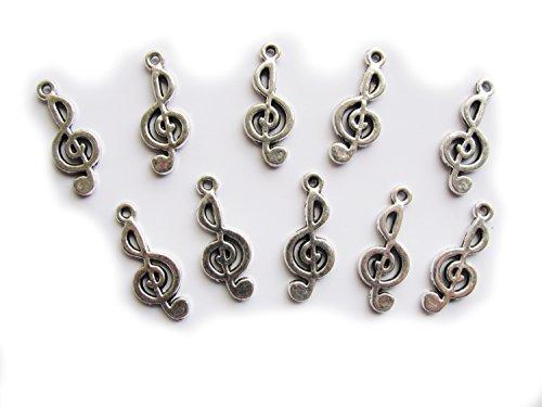 10 Notenschlüssel, silberfaren 2,6 cm, Anhänger, Musik Charms mit Perlen basteln (Musik Note Bettelarmband)