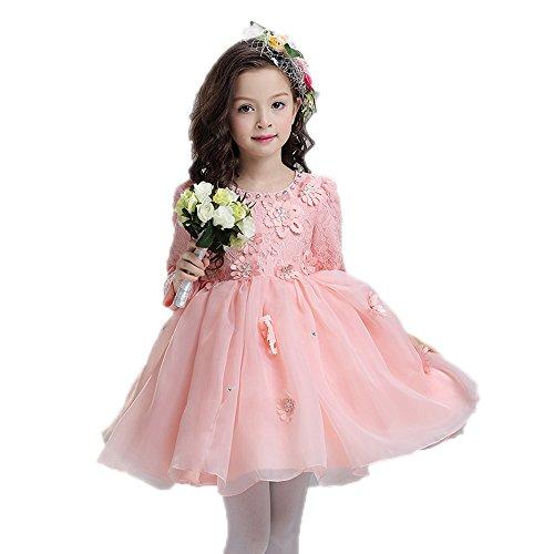 Graduierung Kleid Alter 12-13 Rosa Organza Elegante Prinzessin Erste Coummunion (Kostüm Kleid Graduierung)