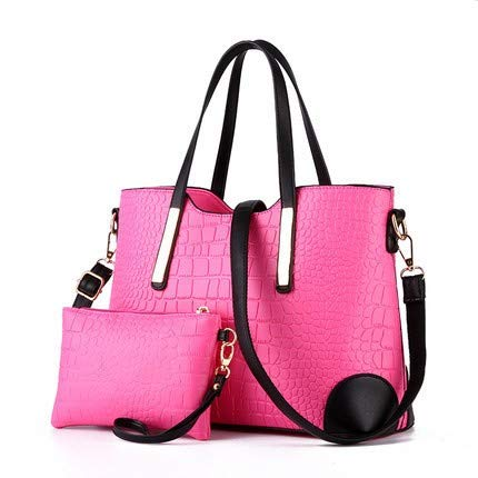 Handtasche Damen, VECOLE Zweiteiliges Set Handtasche & Geldbörse UmhäNgetasche Einfarbig Mode Elegant für Reisen, Schule, Einkaufen, Party(Pink) (Lkw-service-körper)