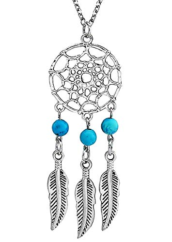 Lovelegis - Collar - Atrapasueños - Indios - Nativo Americano - Protege de Las pesadillas - Etnico - Spiritualidad - Idea Regalo - Mujer - Niña (- 3 Perlas)