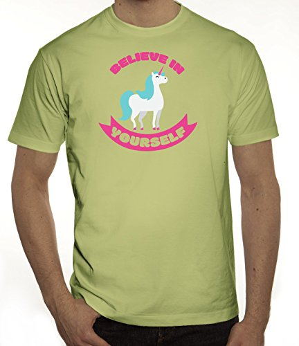 Unicorn Einhorn Herren T-Shirt mit Believe In Yourself Motiv von ShirtStreet Limone