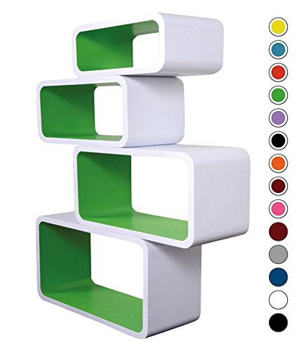 Mensola Da Muro Libreria Scaffale Vari Colori Retrò Cubi Moderno LO01 (Bianco/Verde)