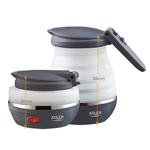 Adler AD1279 - Bollitore elettrico pieghevole, 0,6 L, 750 W, senza BPA, 750 W, 0,6 litri, in silicone
