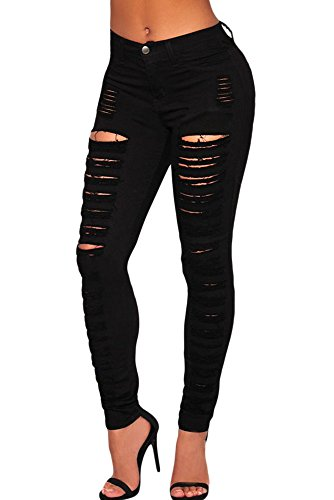 New Damen schwarz denim Skinny Zerrissene Jeans Denim Jeans Casual Wear Club Wear Größe M 10–12 (Schwarze Skinny Jeans Größe 12)