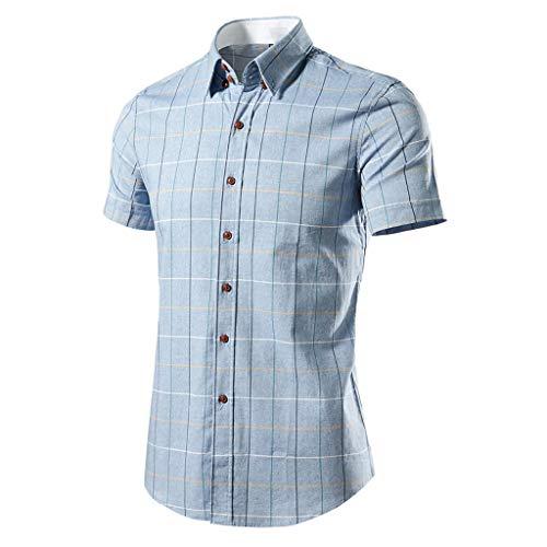 Herren Hemd Kurzarm Slim Fit herrenhemd freizeithemd karohemd Lässige Sommer Hemden T-Shirt stehkragenhemd oberhemden bügelfreie CICIYONER Dolce & Gabbana Hut
