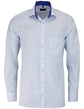 ETERNA Modern Fit Hemd Langarm New Kent Kragen Besatz Karo hellblau