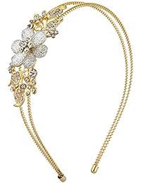 LUX accesorios dorado Cristal 2fila de flores en espiral Floral diadema
