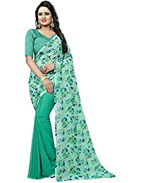 Navanya Couture Women's Printed Georgette Saree With Blouse Piece (FreeSize_ AWESOME FLOWER)