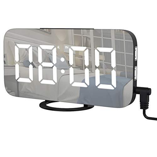 AOGUERBE Digitale Wecker, Tischuhren Alarm Clock LED Spiegel Tischuhr Uhr Alarm mit Kabel, USB-Anschluss, 12/24H Anzeige, Snooze-Funktion Lichtwecker Dekoration Geschenk Haus Schlafzimmer Halle Büro