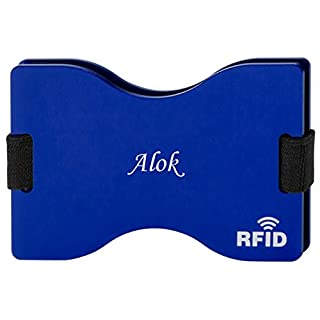 Personalised RFID blocking card holder with engraved name: Alok (first name/surname/nickname)