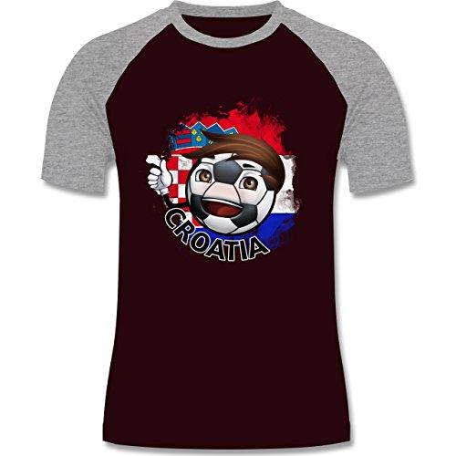 EM 2016 - Frankreich - Fußballjunge Kroatien - zweifarbiges Baseballshirt für Männer Burgundrot/Grau meliert