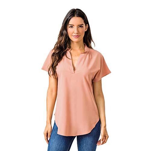 Zylione Sommer Oberteile Frauen Kurzarm Casual Mode Tops Rundhals Blusen Relaxed-fit Tunika Einfarbig T-Shirt V-Ausschnitt Hemdbluse Chiffon Tee -