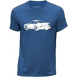 STUFF4 Hommes/Grand (L)/Bleu Royal/Col Rond T-Shirt/Stencil Art de voiture/911 Turbo 82