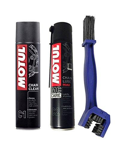 Kit pulisci lubrifica catena motul chain clean c1 + motul c2 chain lube road + spazzola
