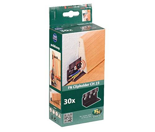 Gedotec Clipholder CH23 Befestigungsclips für Sockelleisten mit Kabelkanal - NH10002 | Unsichtbare Winkel-Befestigung | Kunststoff | 1 Packung mit 30 Stück Montage Leisten-Clips mit Schrauben & Dübel