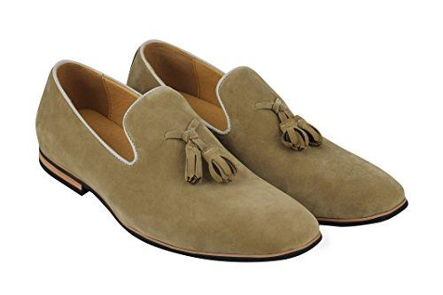Xposed Slip Su Pelle Scamosciata Mocassini in pelle sintetica da uomo Smart Casual guida scarpe nappa Design dimensioni 6–12 Cream