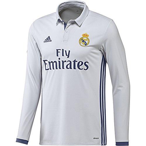 adidas H JSY LS Camiseta 1ª Equipación del Real Madrid CF 2015/16, Hombre, Blanco/Morado, XS