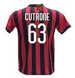 Camiseta de fútbol Cutrone 63 Milan réplica autorizada 2018-2019 niño (Tallas 2 4 6 8 10 12) Adulto (S M L XL), Bianco, 2 años
