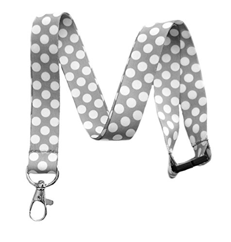 Break Away groß Polka Dot Print Lanyard Schlüsselanhänger ID Badge Holder (grau) -