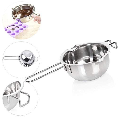 Dosige Wasserbad-Schmelzschale Schokolade Schmelzen Topf mit 2 Ausgießern für Sauberes Kochen Edelstahl 26 x 14 cm