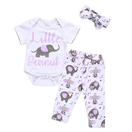 aiyvi Strampler + Hosen + Haarband Set,0-24 Monate Kleinkind Baby Jungen Mädchen Karikatur-Elefant Print Brief Tops und Hosen,Einfache Niedlich und Bequem