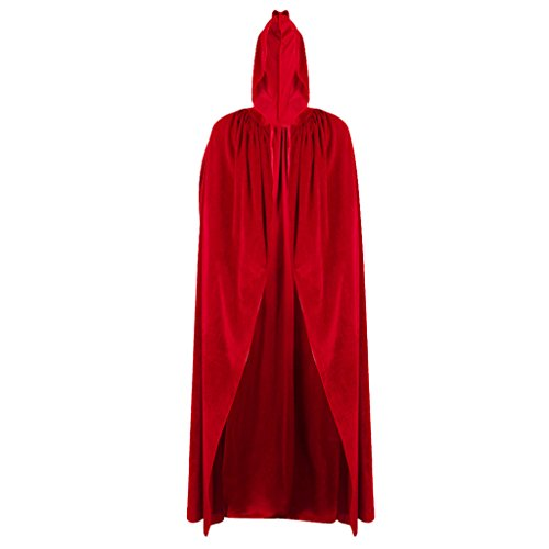 Für Kapuze Rot Hoodie Kostüm Erwachsene - BINGMAX Halloween-Hexe-Samt-Mantel-erwachsenes mit Kapuze Kap-Hochzeits-Kostüm-Roben-Partei-Rot