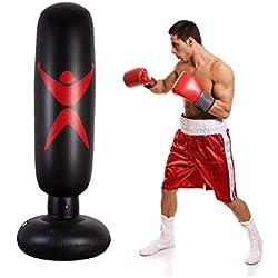CSPone | Sac de Boxe Gonflable, Sac de Frappe sur Pied, Punching Ball pour Adulte Enfant pour Fitness, MMA, Karaté - 160CM