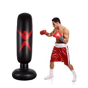 Freistehender Boxsack Trainer Punching Ball Sandsack Erwachsene Fitness Dekompression Sands/äcke Kick Kampftraining Boxsack Kinder 160cm Standboxsack Stehend Aufblasbare BoxsackTumbler Kinder