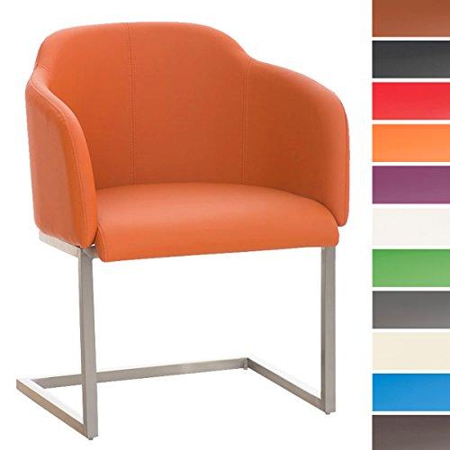 CLP Chaise Salle à Manger Magnus Design Similicuir Dossier et Accoudoirs I Pieds Oscillant en Acier Solide I Chaise de Reception I Couleur: Orange