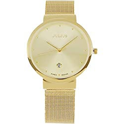 JULIUS JA426 Classic Stainless Steel Analogue Quartz Wrist Watch with Day Display(Gold)
