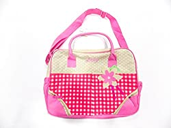 pink beige mother bag with checks