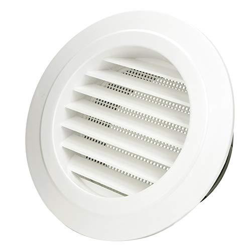 Hon&Guan ø125mm Ronda Rejilla de Ventilación ABS con Protección Contra Insectos , Respiraderos de Láminas para Baño Habitación Oficina (ø125mm)