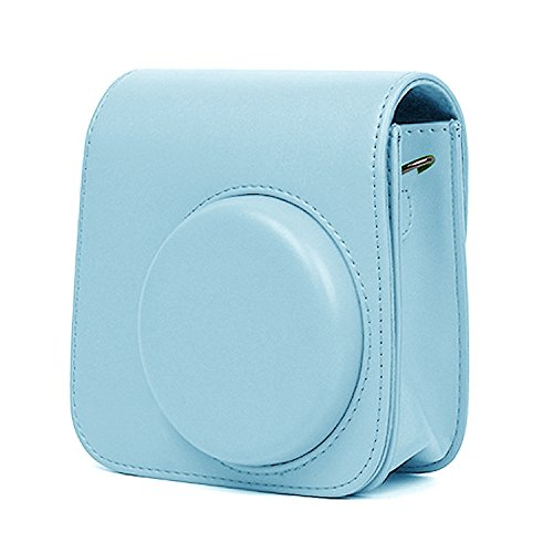 Fujifilm instax mini 9 Tasche, Mopalwin Kamera Tasche Abdeckung für Fujifilm Instax Mini 9 Sofortbildkamera Kunstleder Schutzhülle Kameratasche Hülle Abdeckung mit abnehmbaren Riemen (Blau)