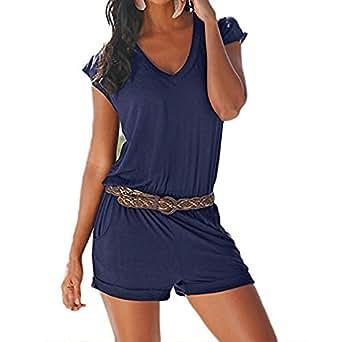 SUNNOW Women's Romper V Neck Elastic Waist Shorts Jumpsuit Playsuit (S, Gem Blue-2)