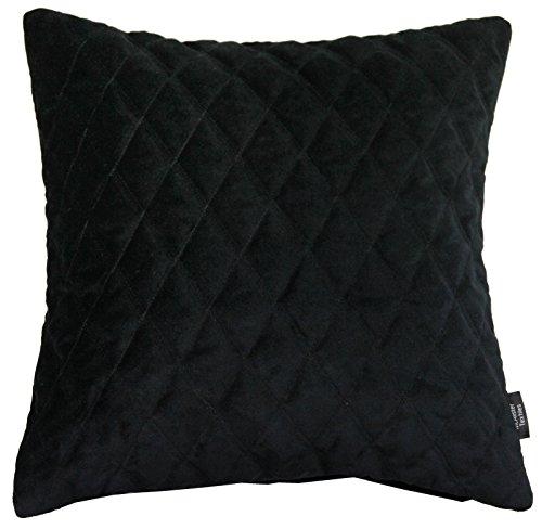 McAlister Textiles Luxury Kollektion | Gesteppter Samt Zierkissen Diamant inkl. Füllung 60cm x 60cm in Schwarz | Deko Kissen für Sofa Couch Bett -