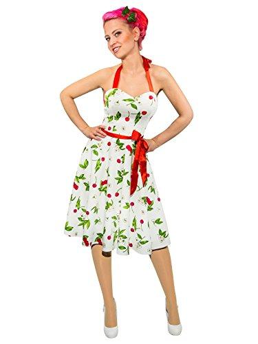Preisvergleich Produktbild Hearts and Roses Rockabilly 50er Neckholder Kleid Kirschen weiss bunt 44